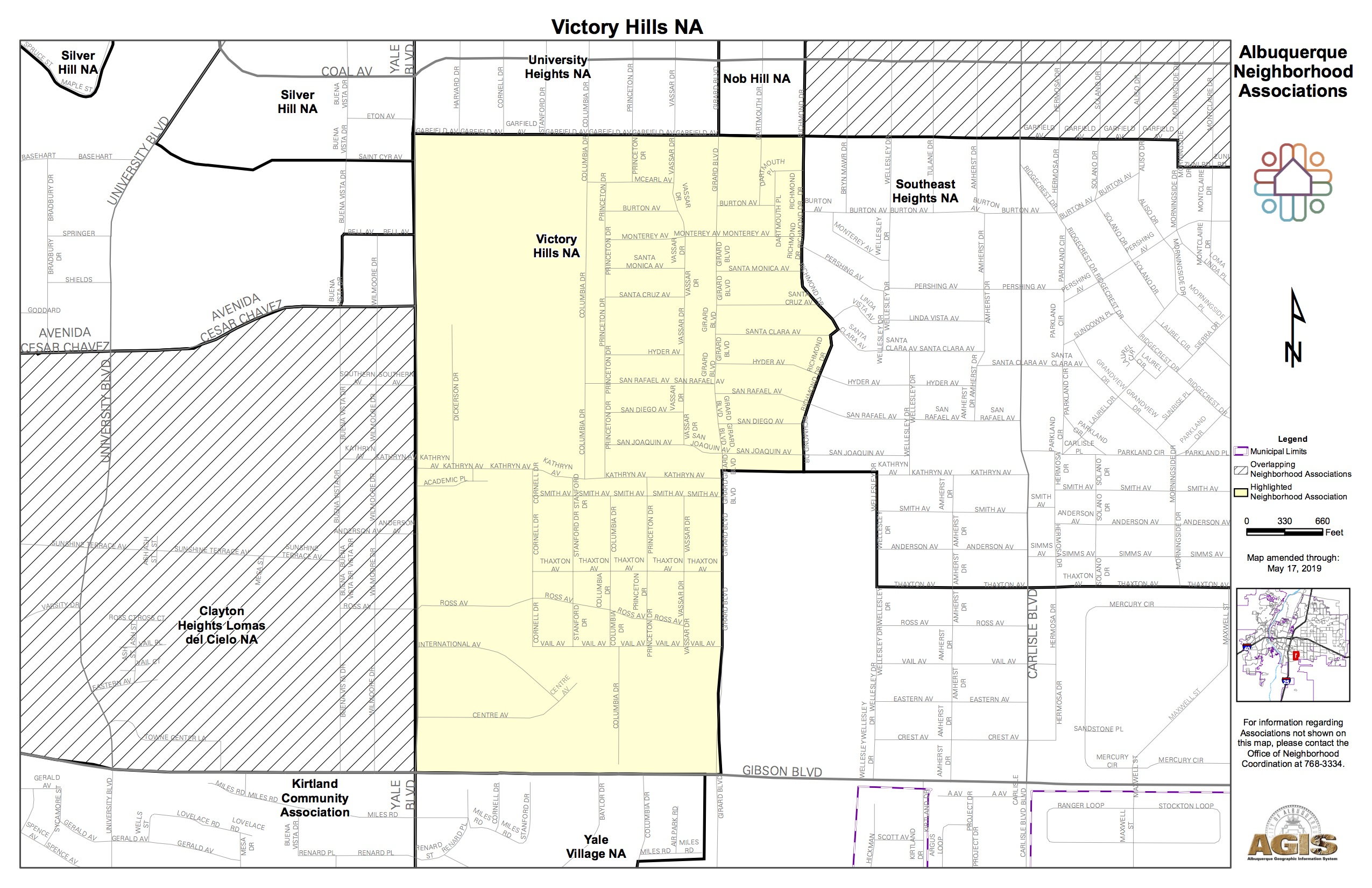 Adjacent Nob Hill Neighborhood Association Victory Hills Map