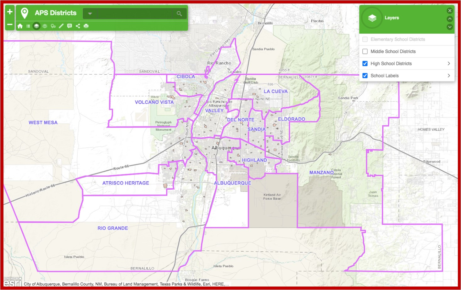 Albuquerque Public School Districts Map