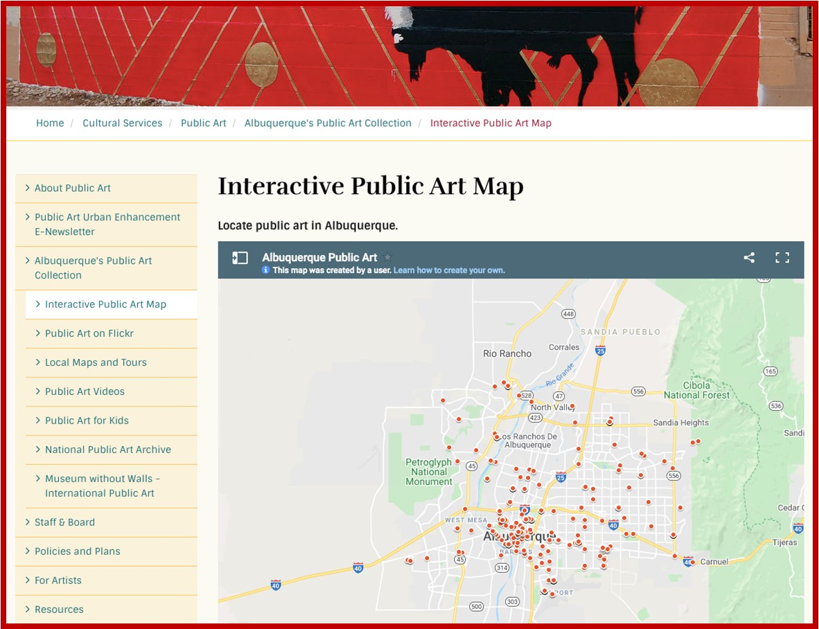MetroABQ 1% For Art City Map