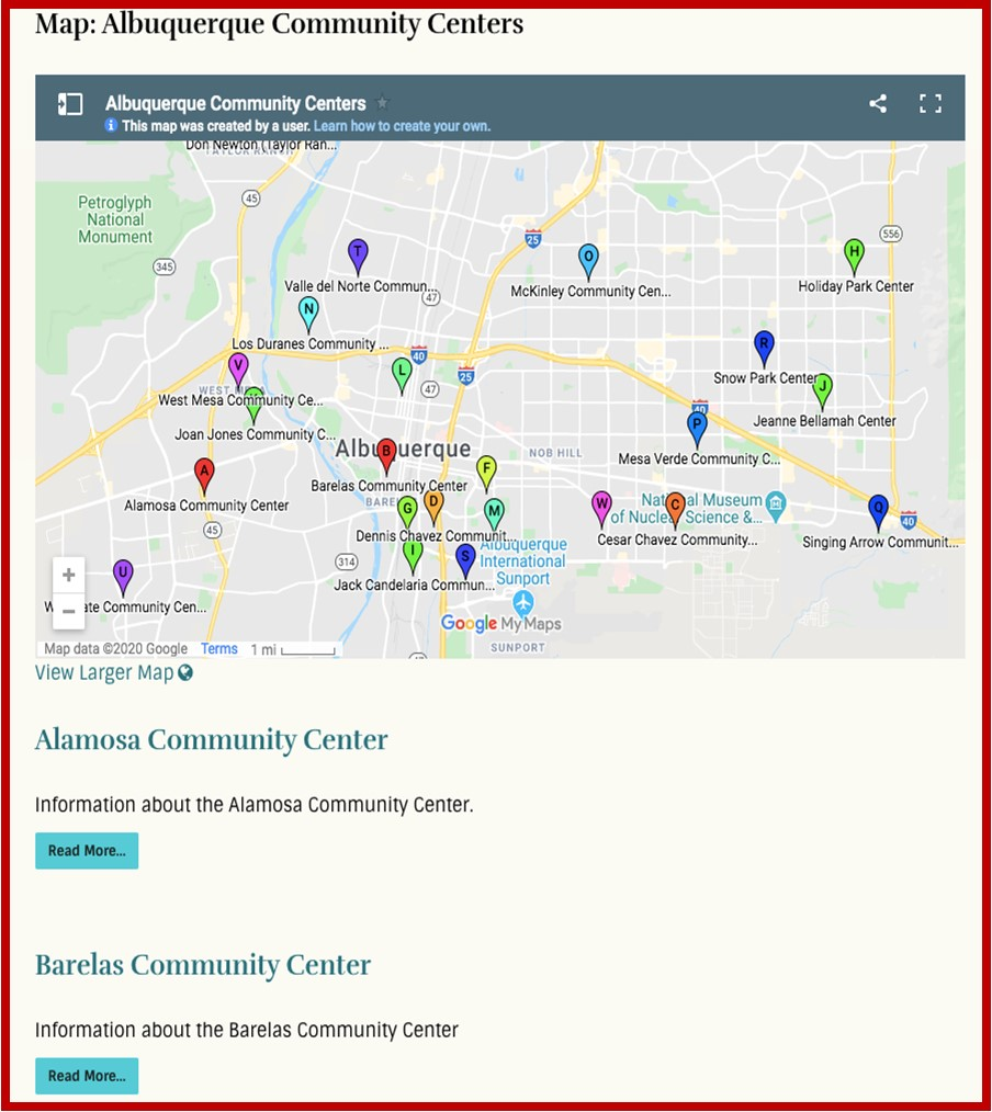 MetroABQ Community Centers Map
