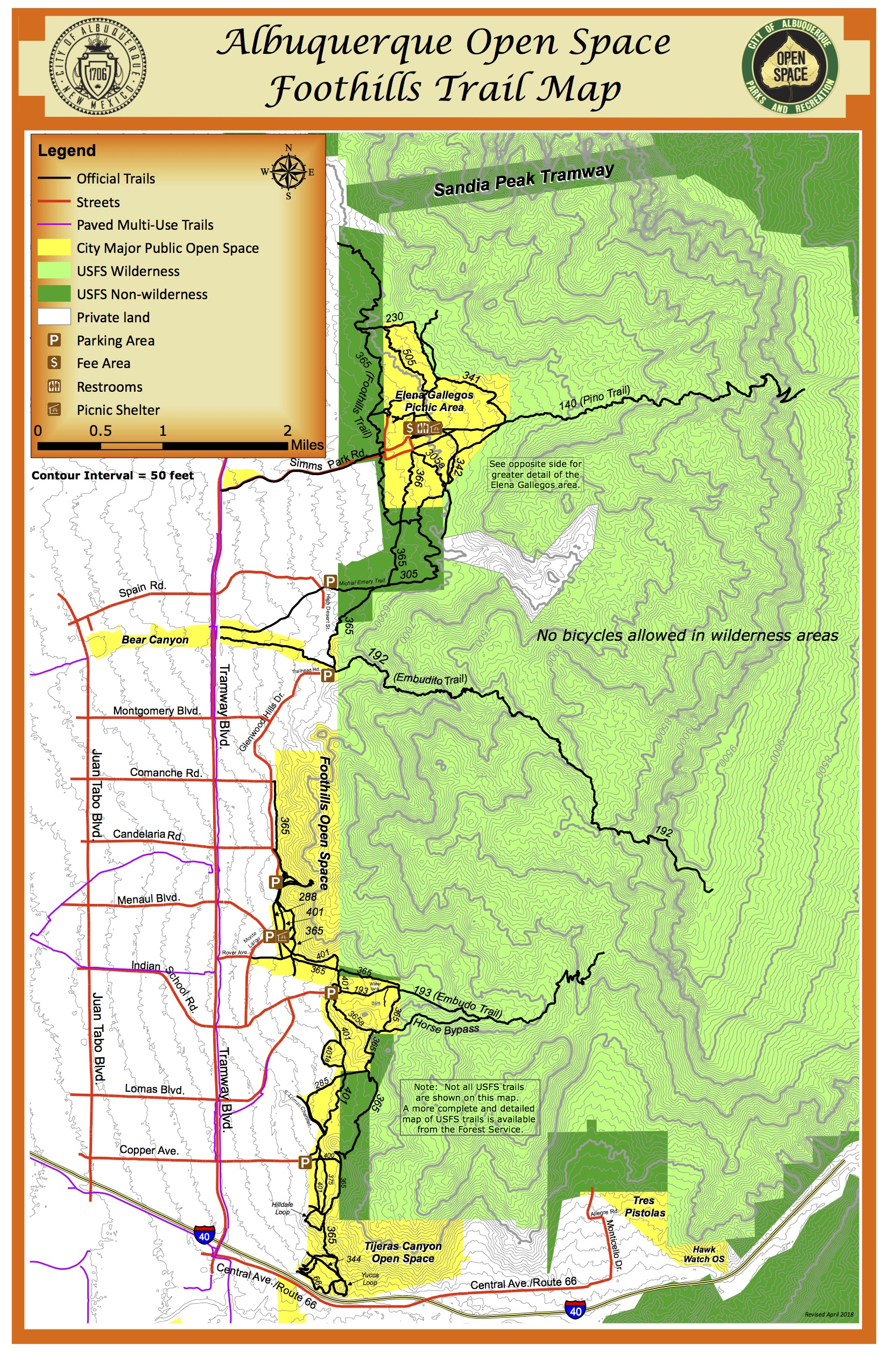 MetroABQ Foothills Open Space Map