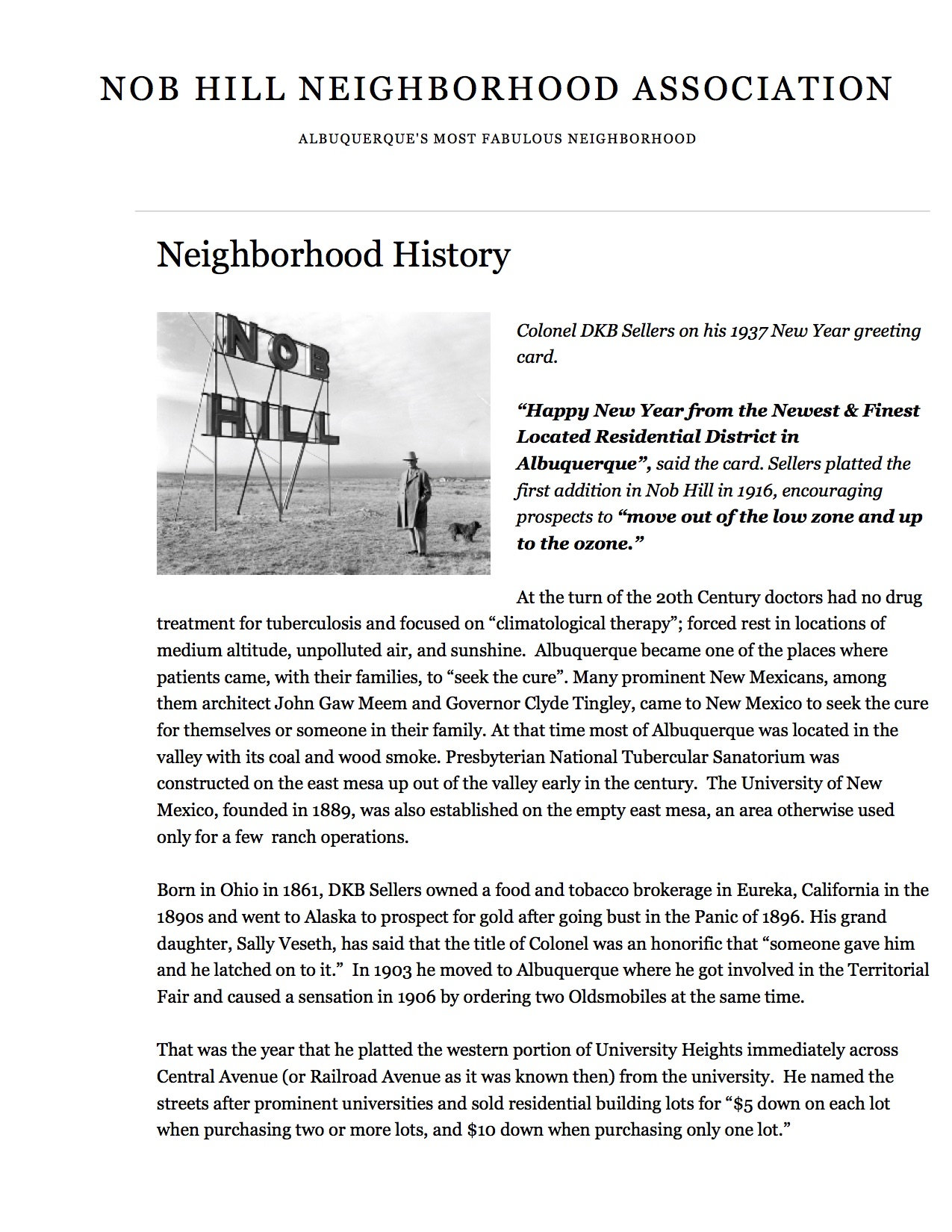 Nob Hill Neighborhood Association History