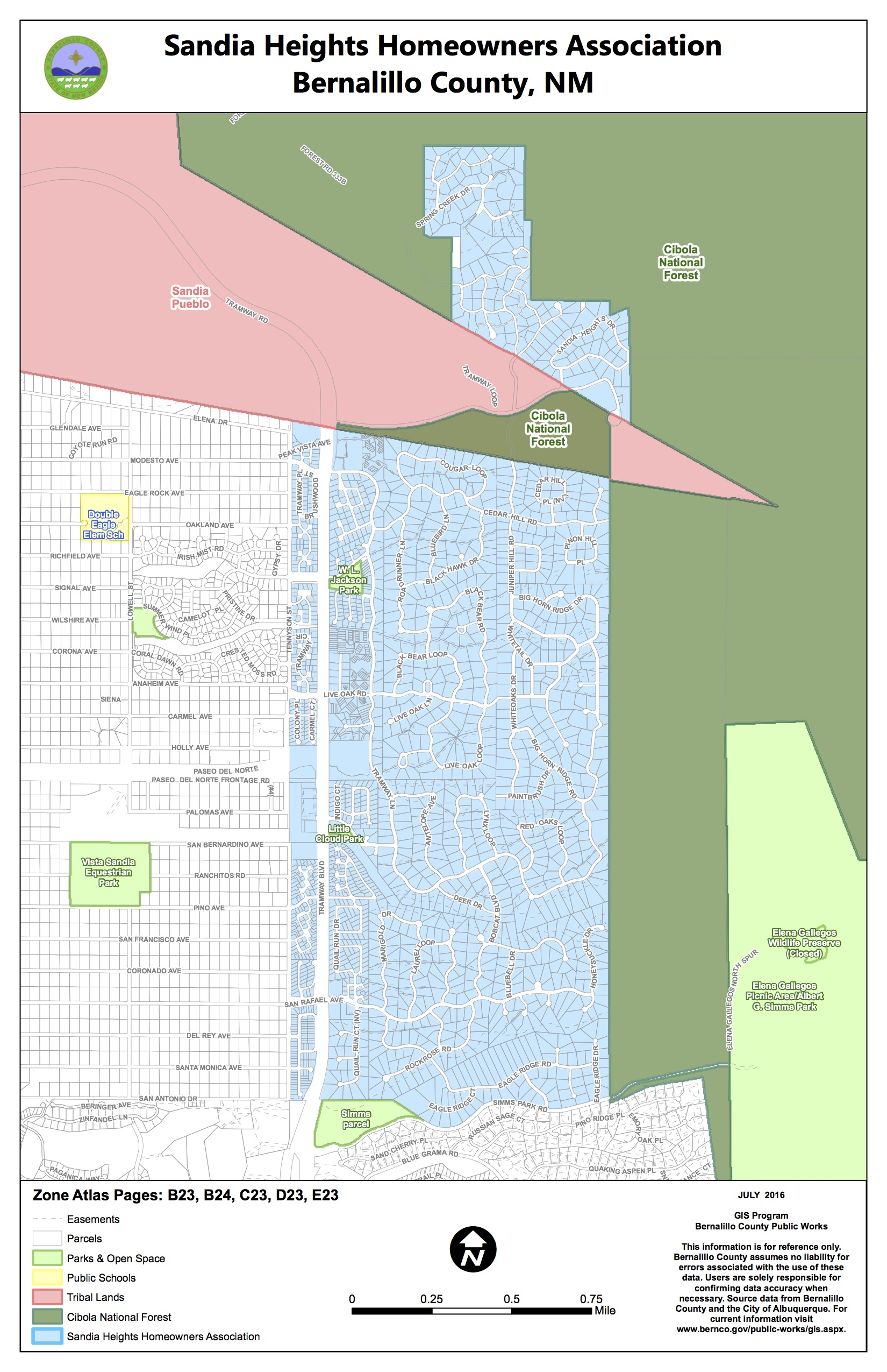 Sandia Heights Homeowners Map