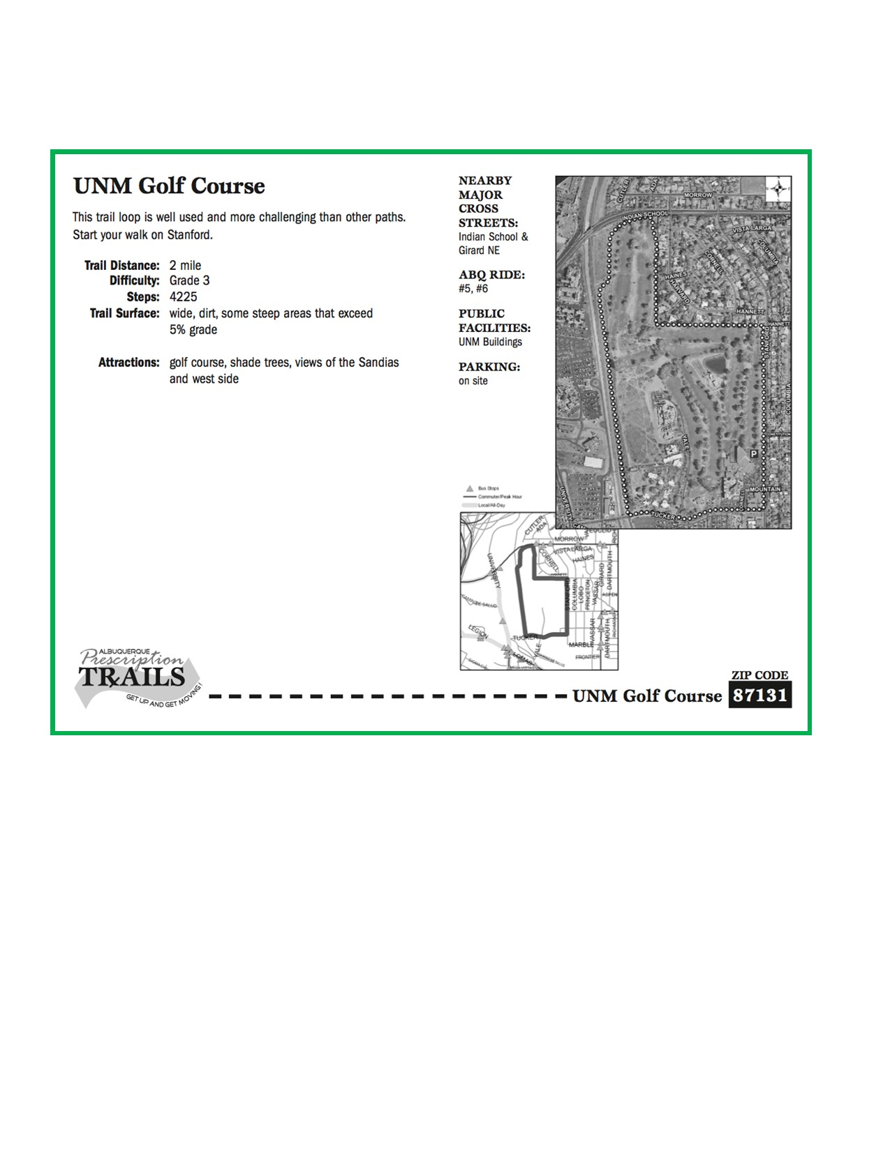 UNM Golf Course Map and Walk
