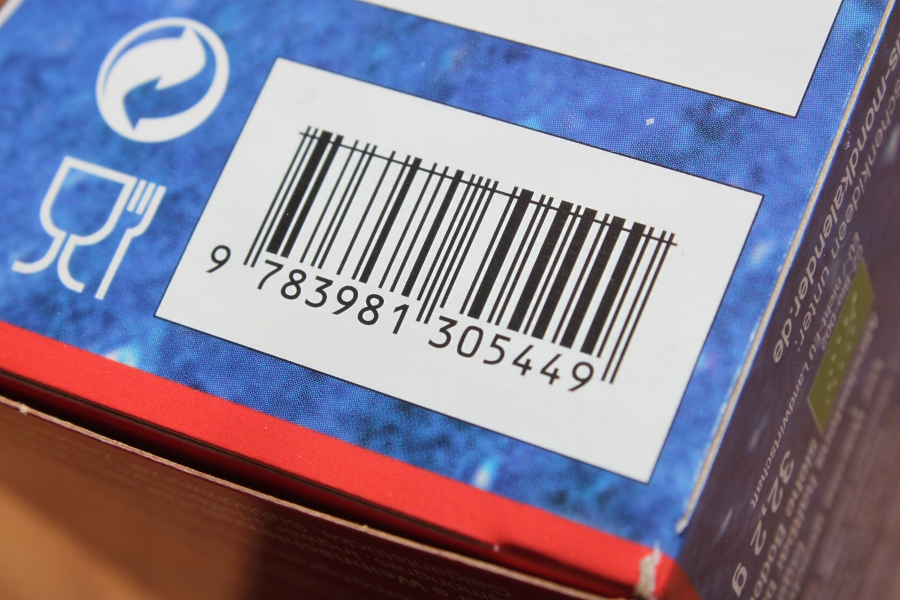 Barcode on the bottom of a blue box