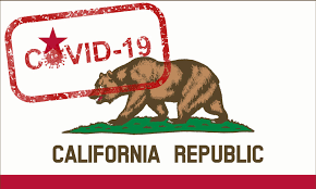 California flag with covid written on it.