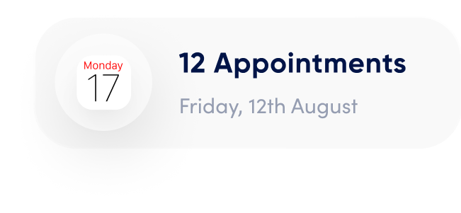 A Snippet showing due Appointments
