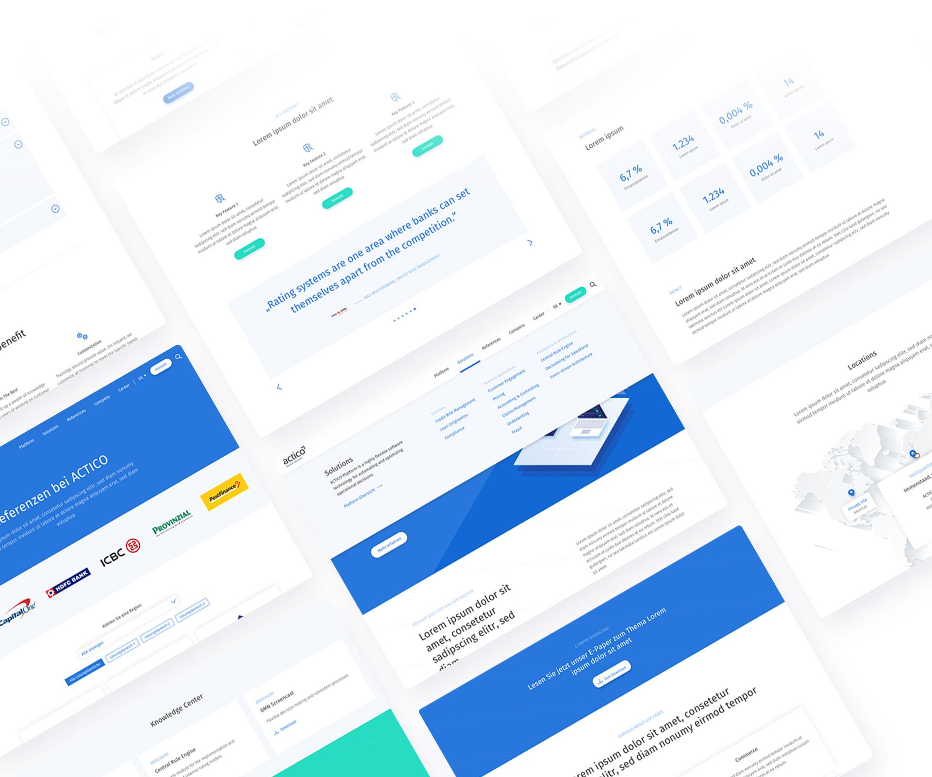 ACTICO Website Design Übersicht