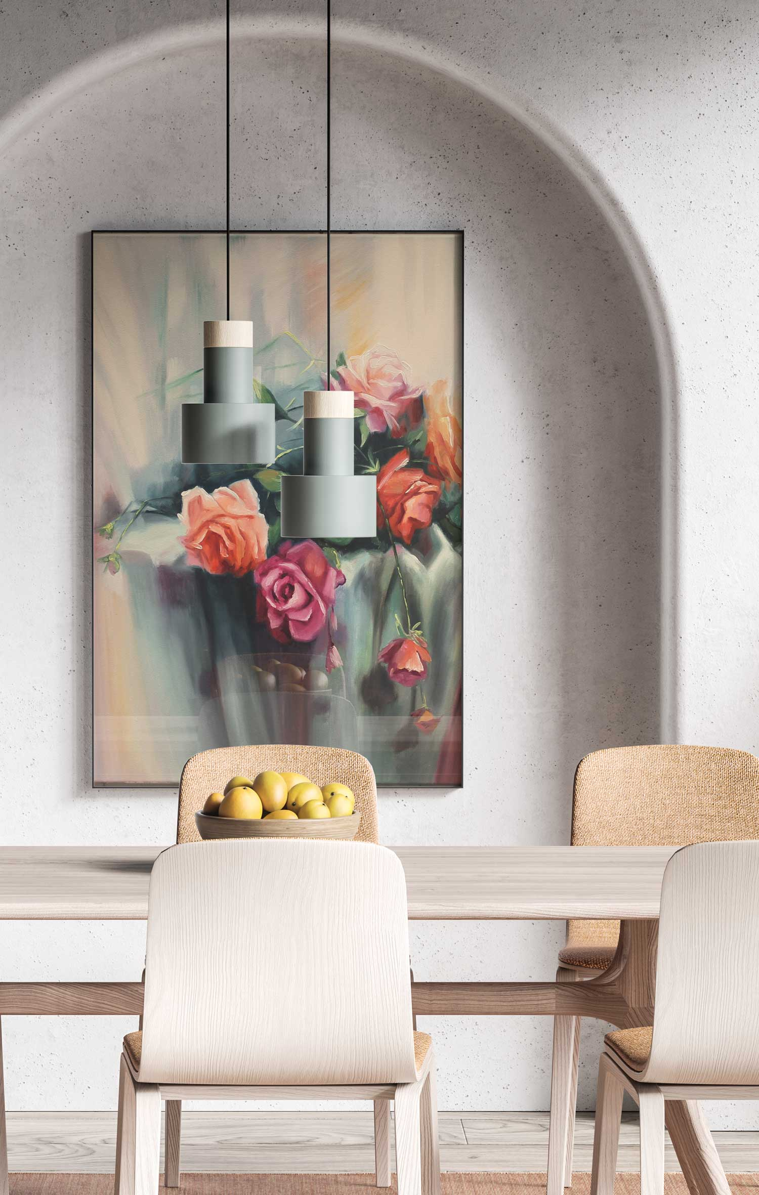 Framed painting of flowers hanging in dining room.
