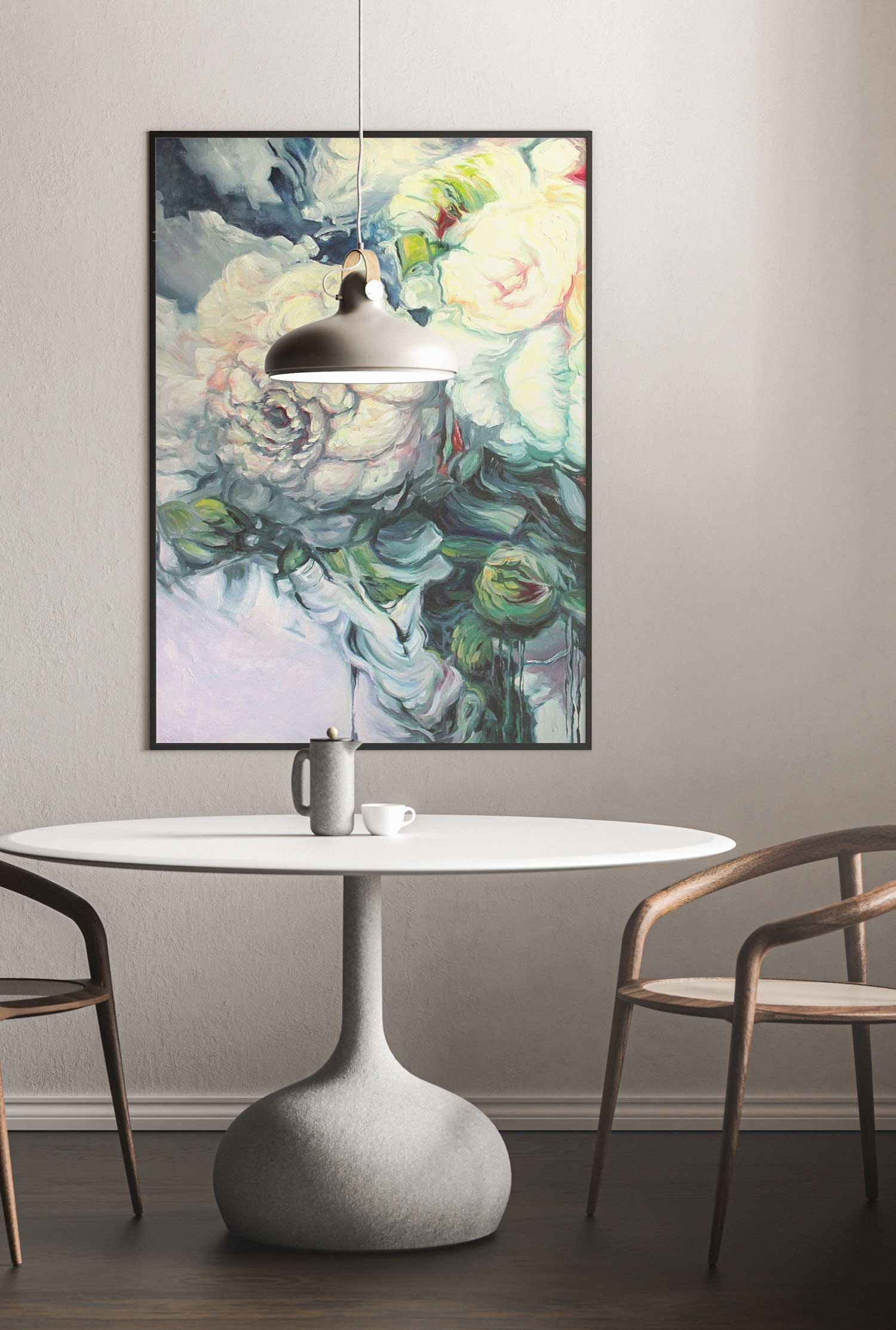 Framed painting with flowers hanging in living room