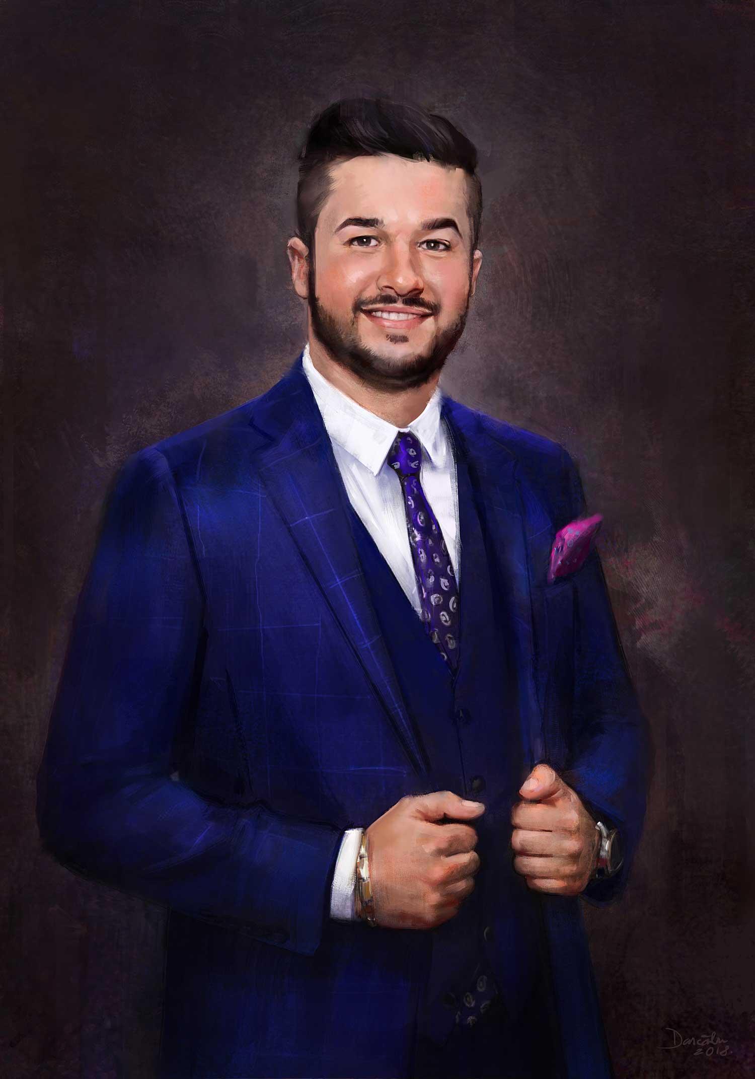 Digital portrait of young man in elegant blue costume