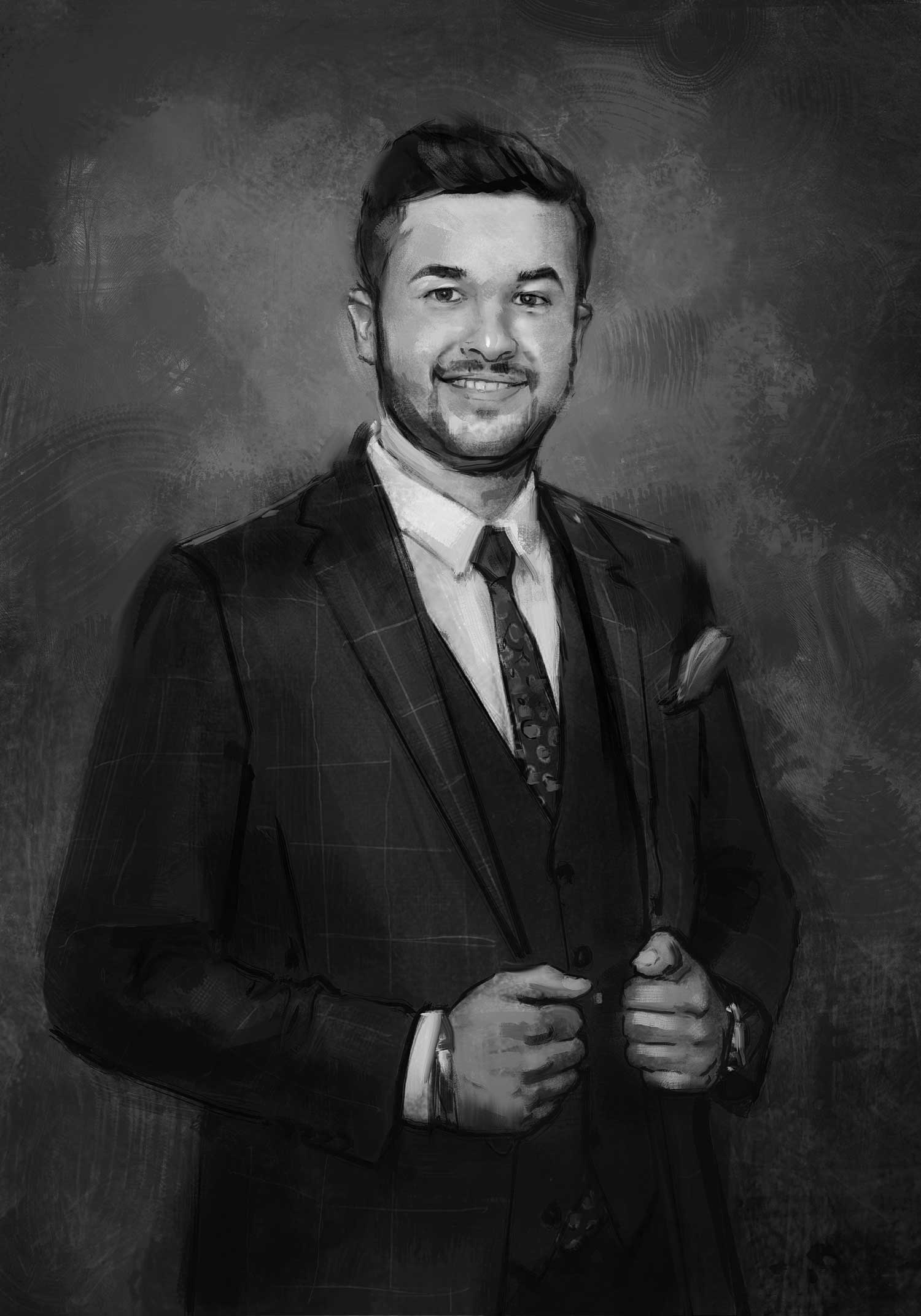 Sketch of portrait of young man in suit.