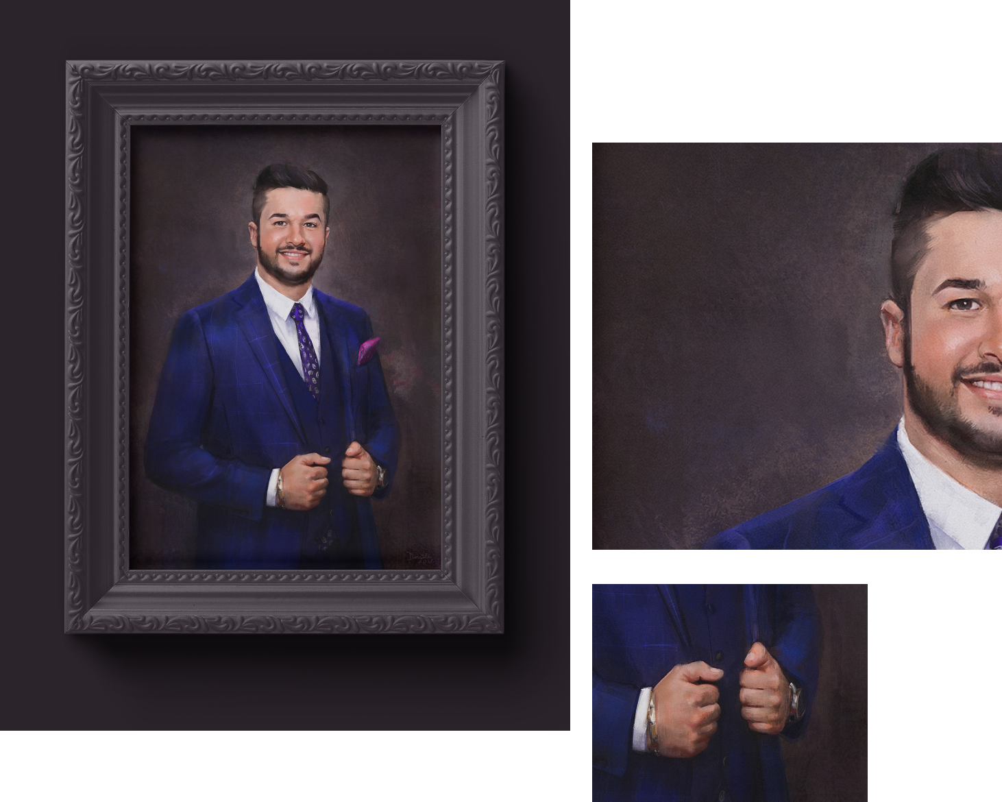Photo collage of finished digital painting of young man wearing a blue suit, framed in elegant wooden frame