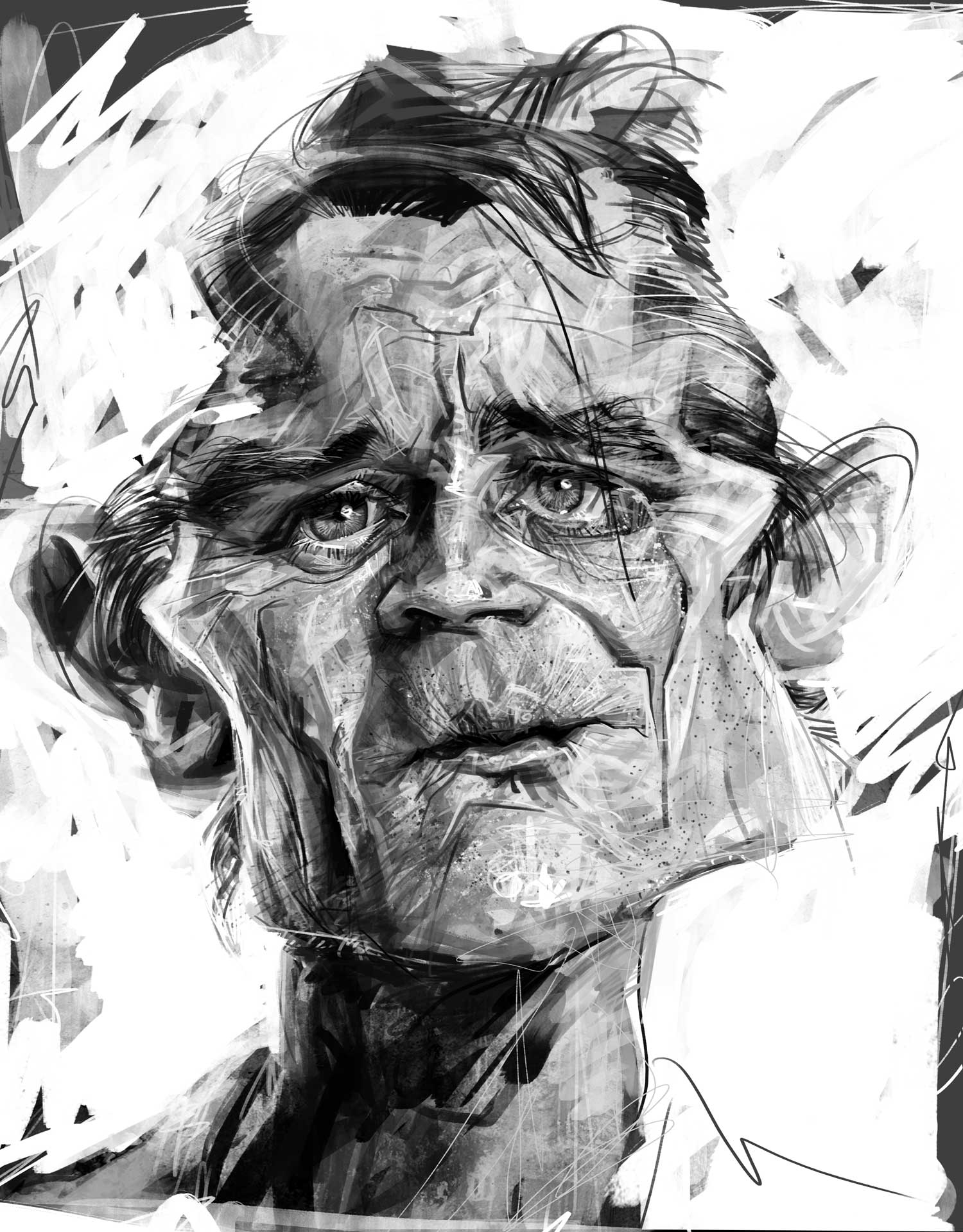 Black and white digital caricature portrait of a man