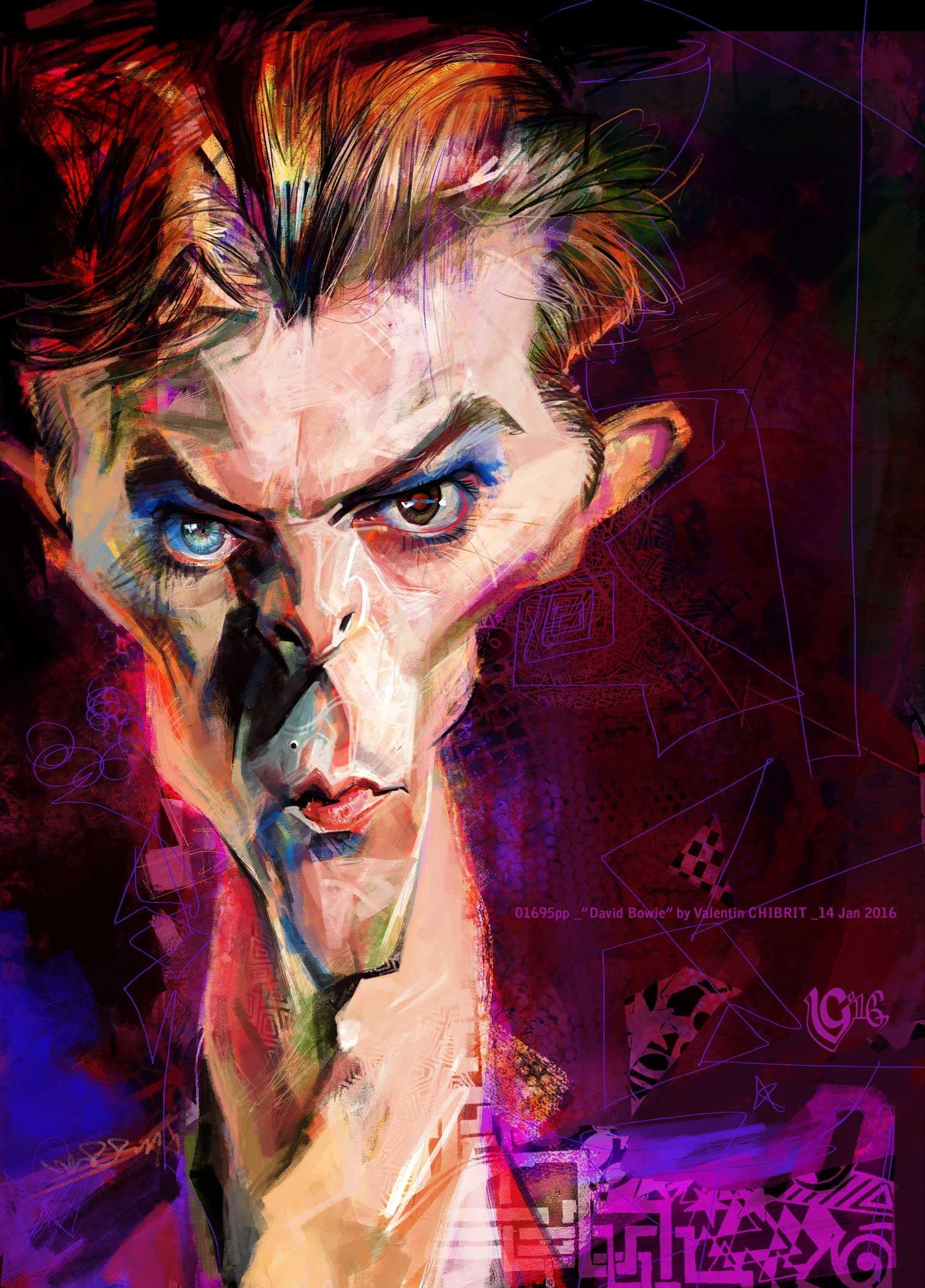 Digital caricature of David Bowie