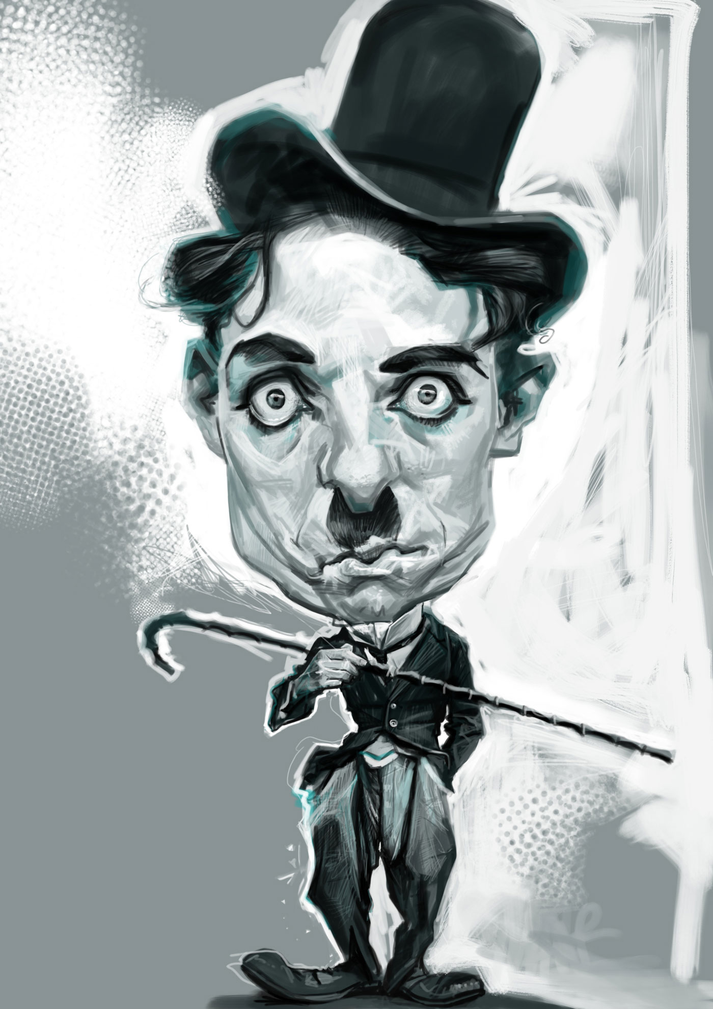 Digital caricature of Charlie Chaplin