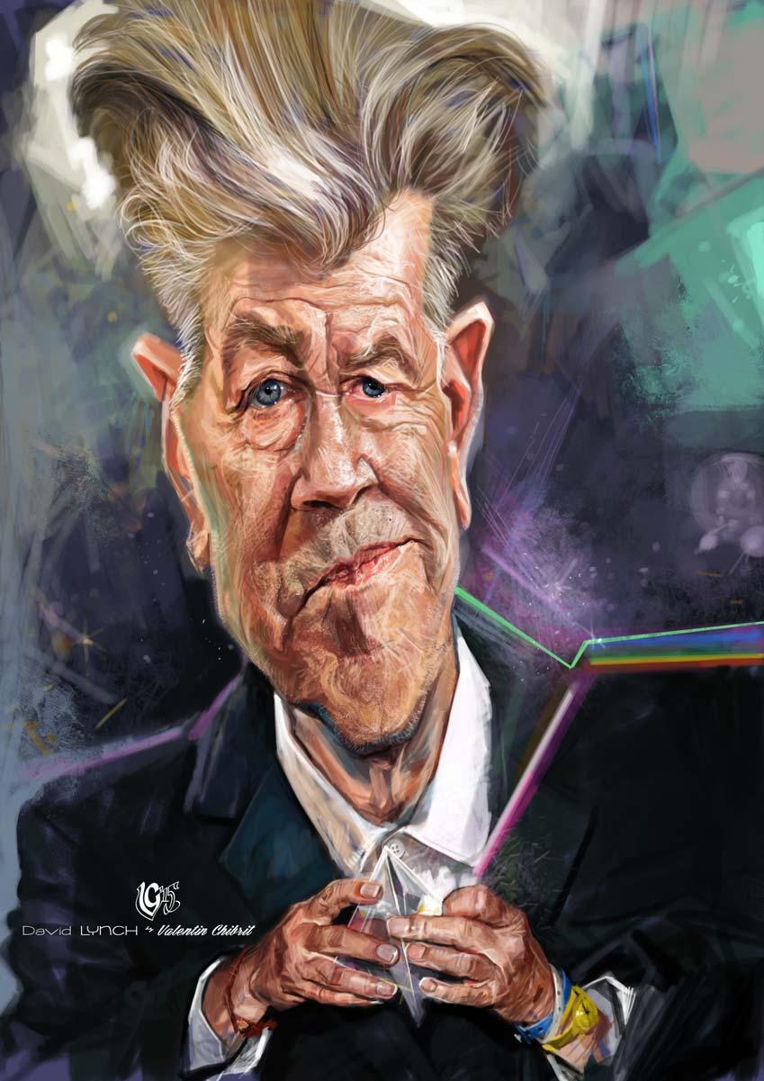 Digital caricature of movie director David Lynch