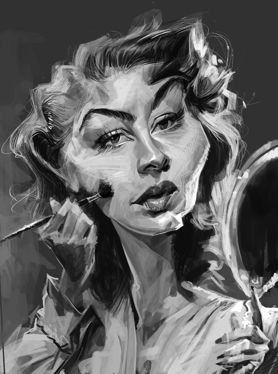 Black and white digital caricature of a young woman applying makeup