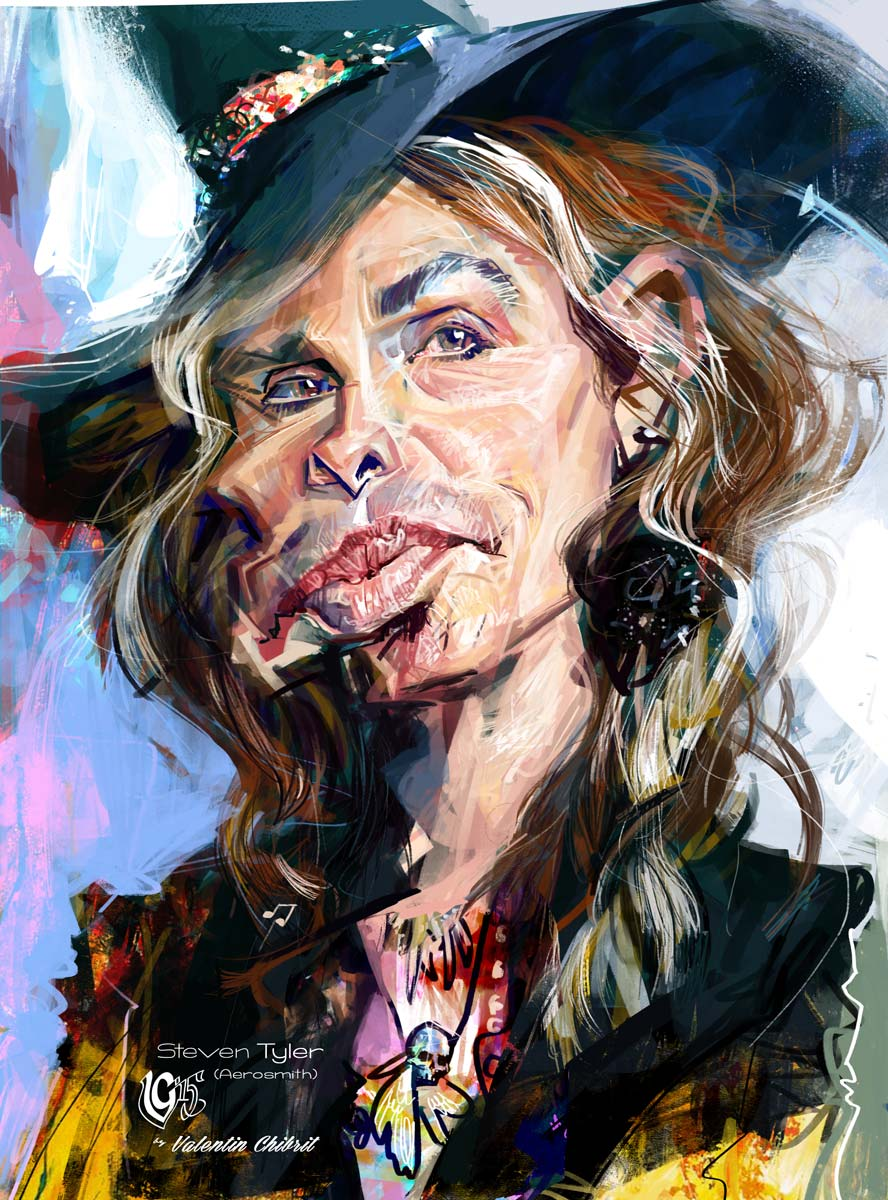 Digitla caricature of Steven Tyler lead singer of Aerosmith