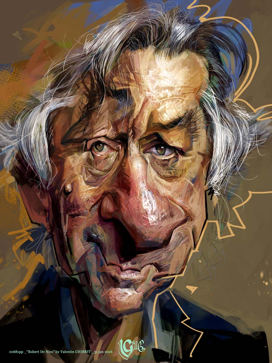 Digital caricature of Robert DeNiro