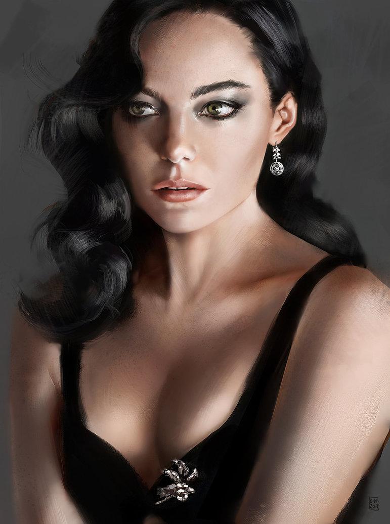 Digitalt portrait painting of elegant woman in black dress.