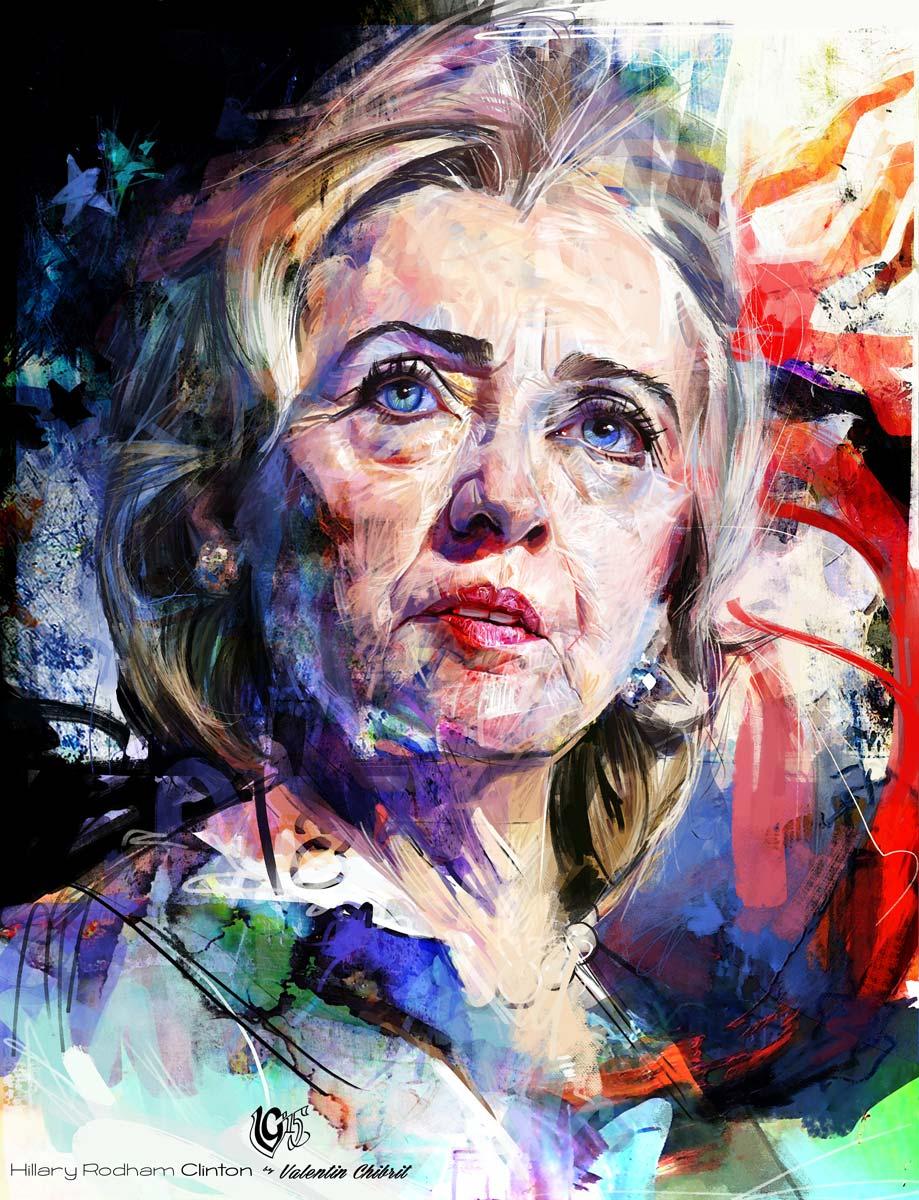 Digital portrait painting of Hillary Clinton