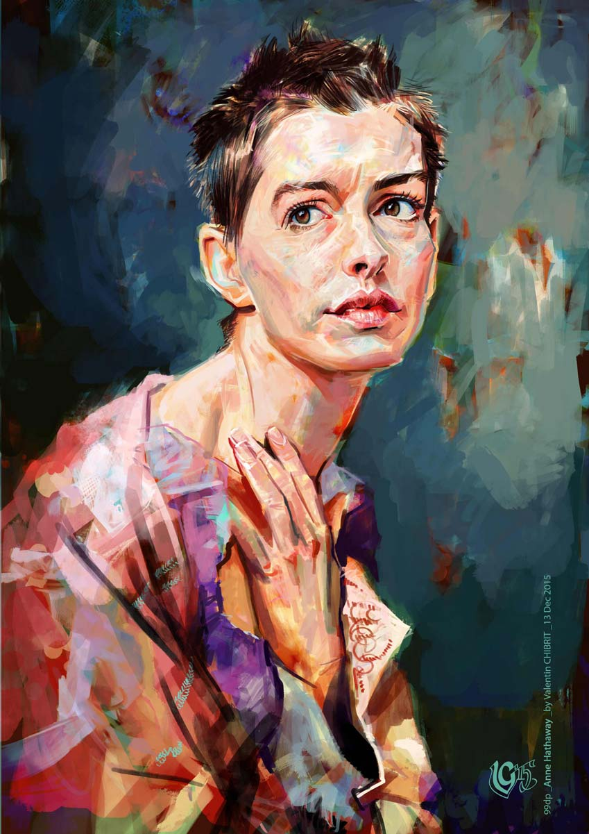Digital portrait illustration of Anne Hathaway in Les Miserables.