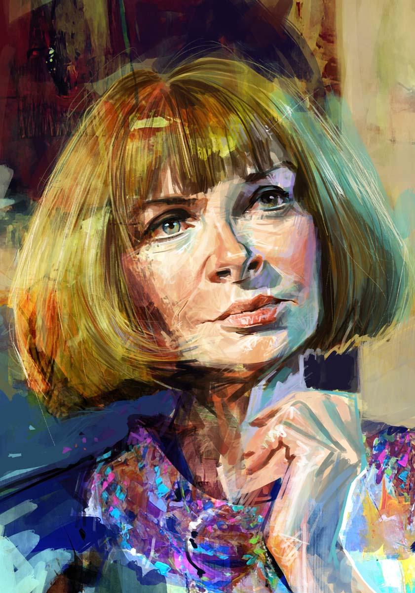 Digital portrait illustration of Anna Wintour from Vogue.