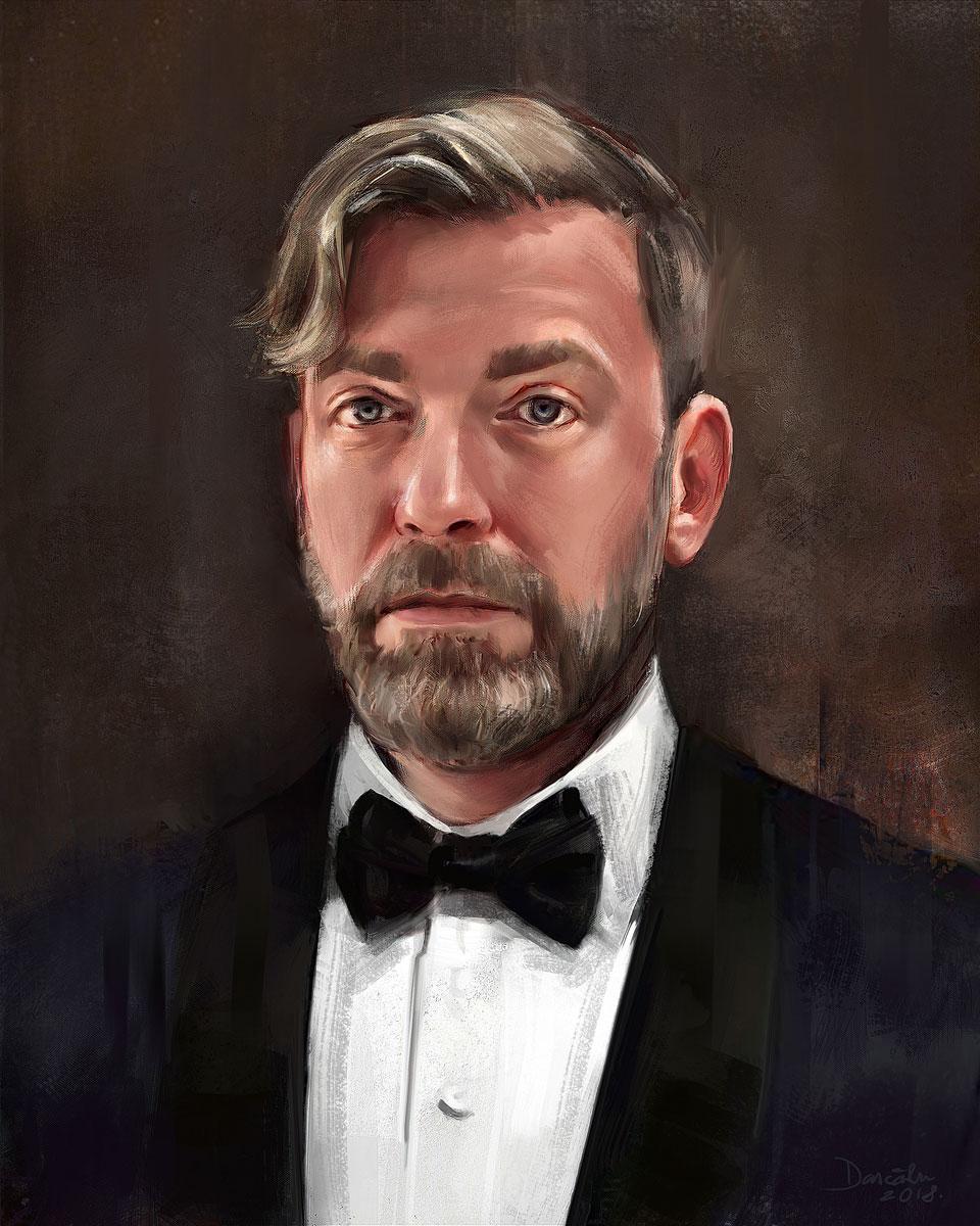 Artsy digital portrait painting of a stylish man dressed in tuxedo