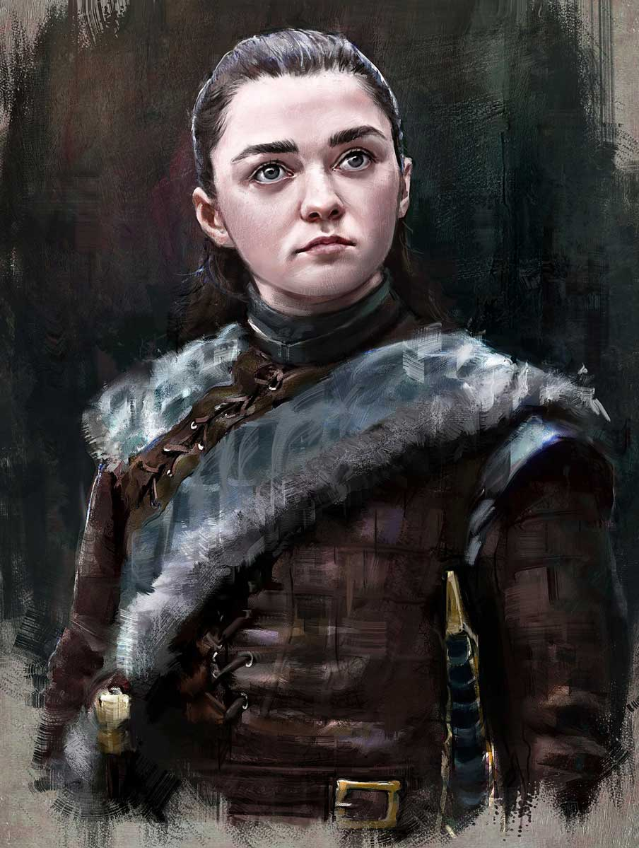 Digital portrait painting of Arya Stark from Game of Thrones