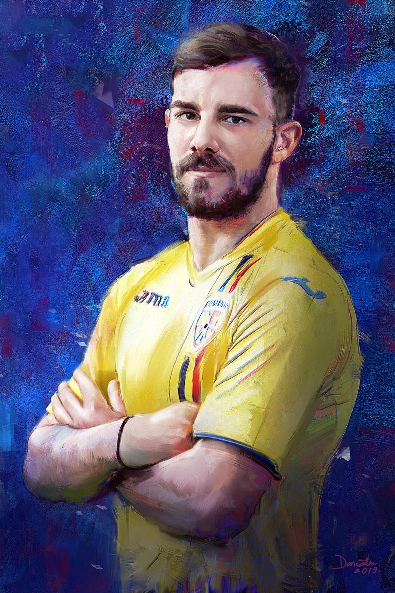 Digital portrait painting of Romanian footballer on blue background