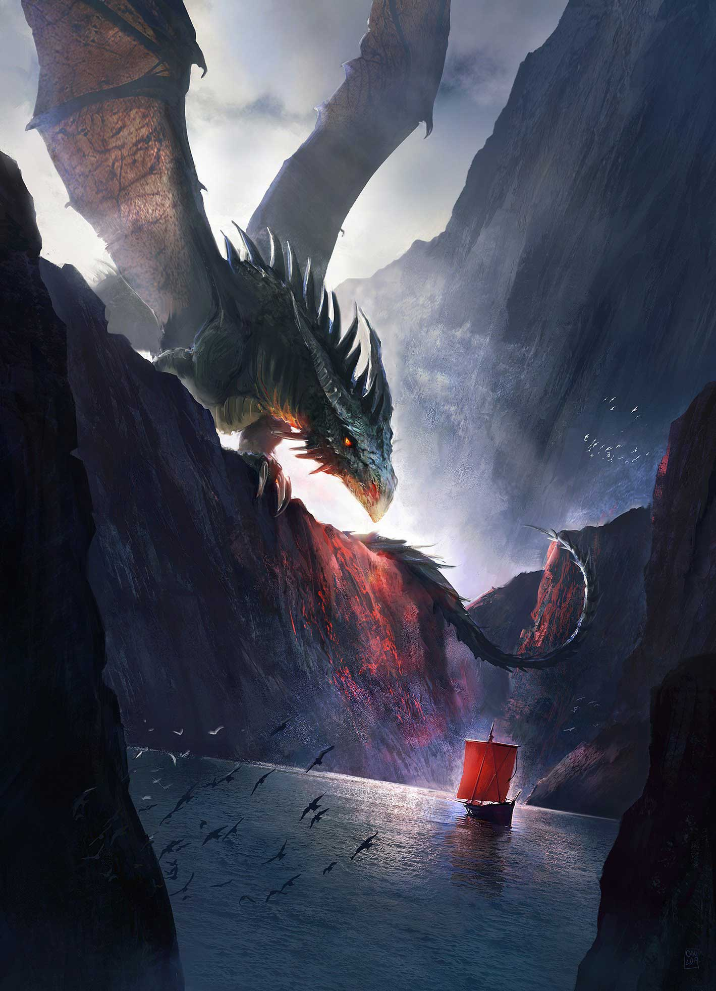 Digital illustration of a dragon above a bay with a ship.