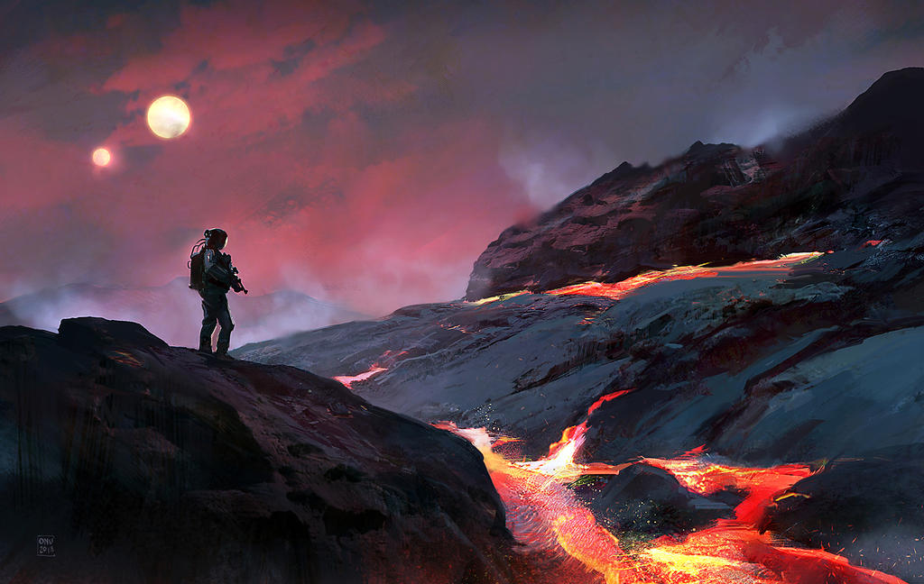 Digital illustration sketch of future soldier standing in front of a river of lava.