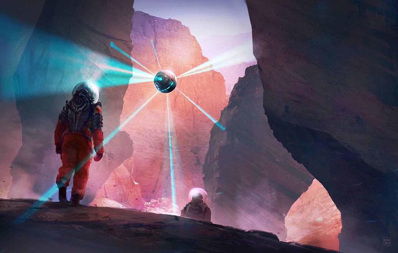 Digital illustration artwork of space explorers walking on an alien planet with a orb scanning the surroundings.