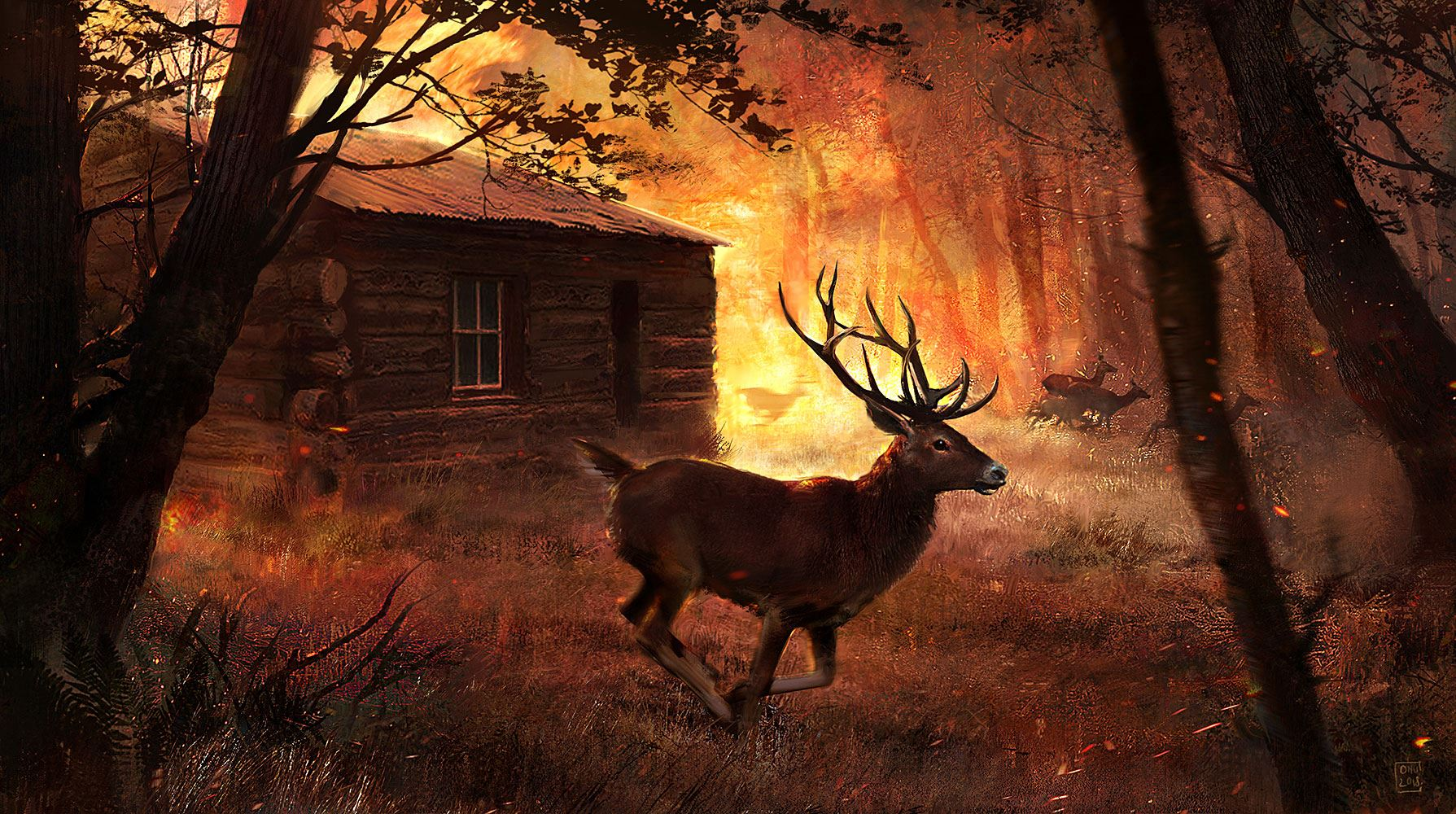 Digital illustration of a forest on fire, with a cabin in the background and a stag in the front.