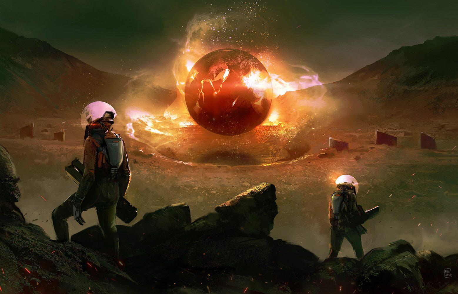 Digital illustration of an alien glowing orb.