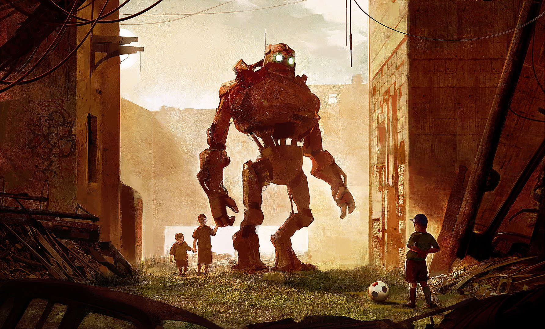 Digital illustration of giant robot in a post-apocalyptic world, with children playing football / soccer.