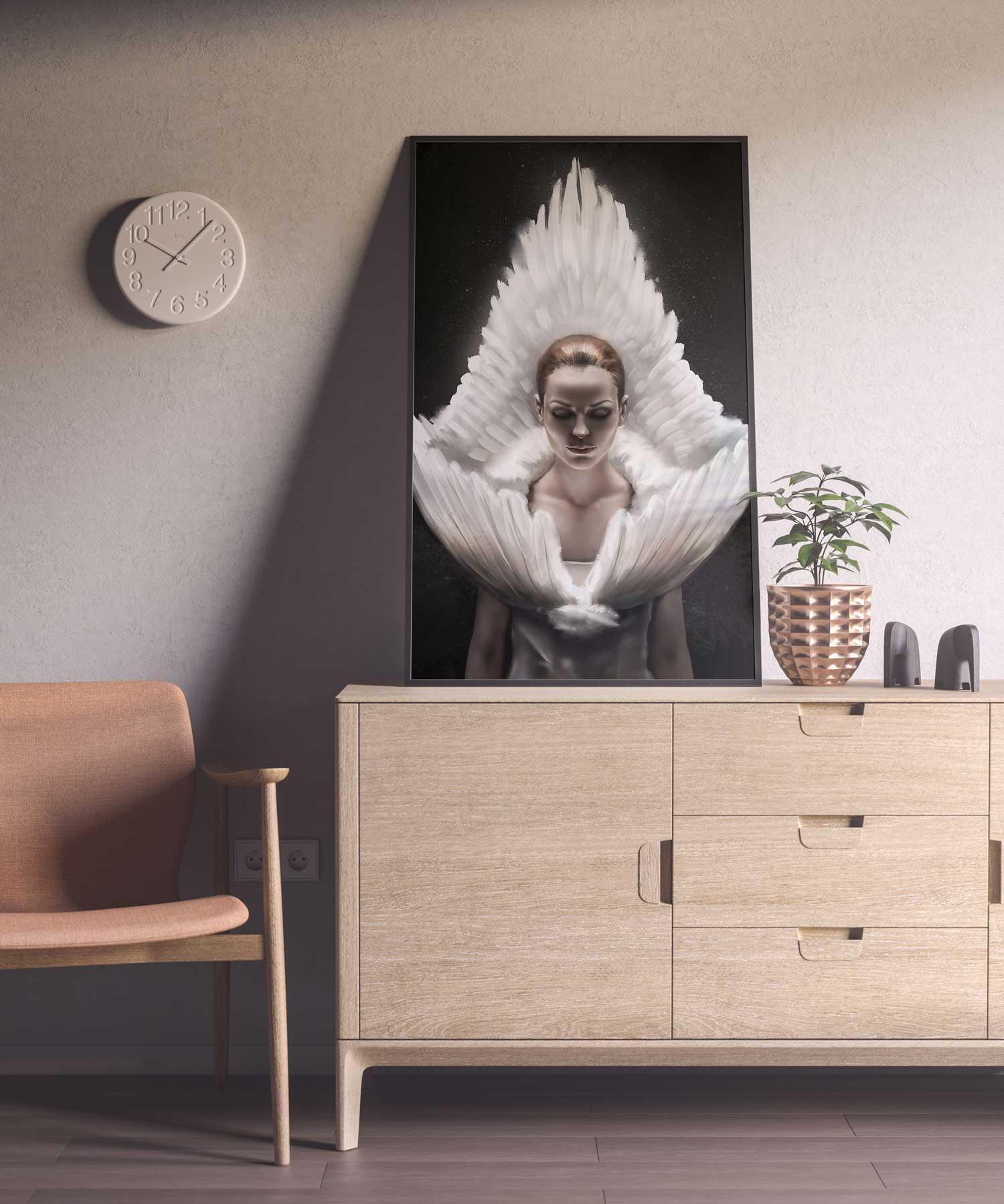 Framed print of digital portrait illustration sitting in living room.