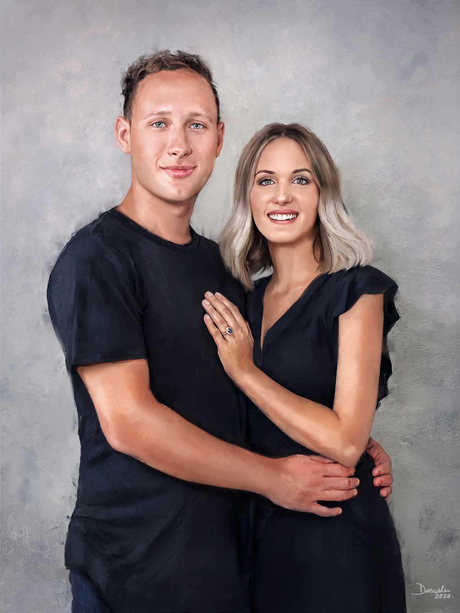 Digital portrait of young couple