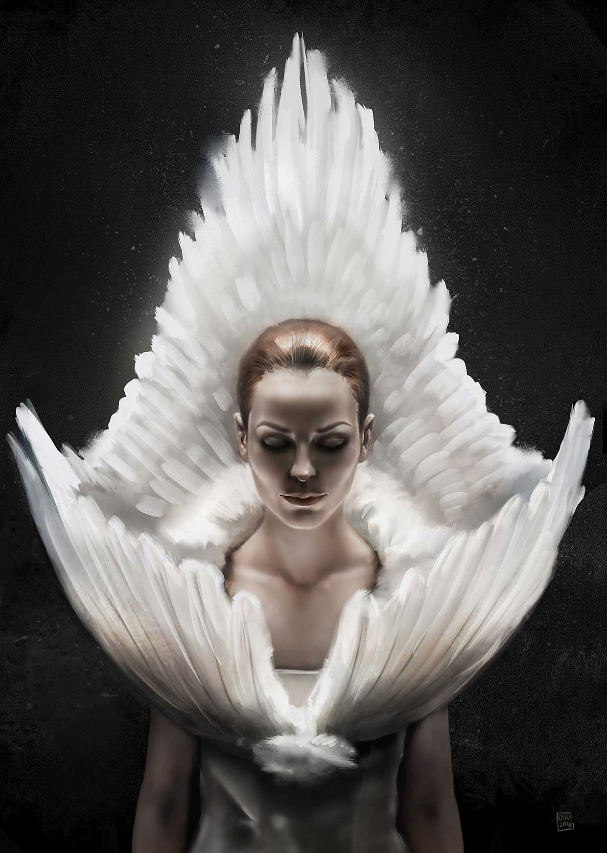 Digital portrait of actress in costume with feathers and dramatic lighting