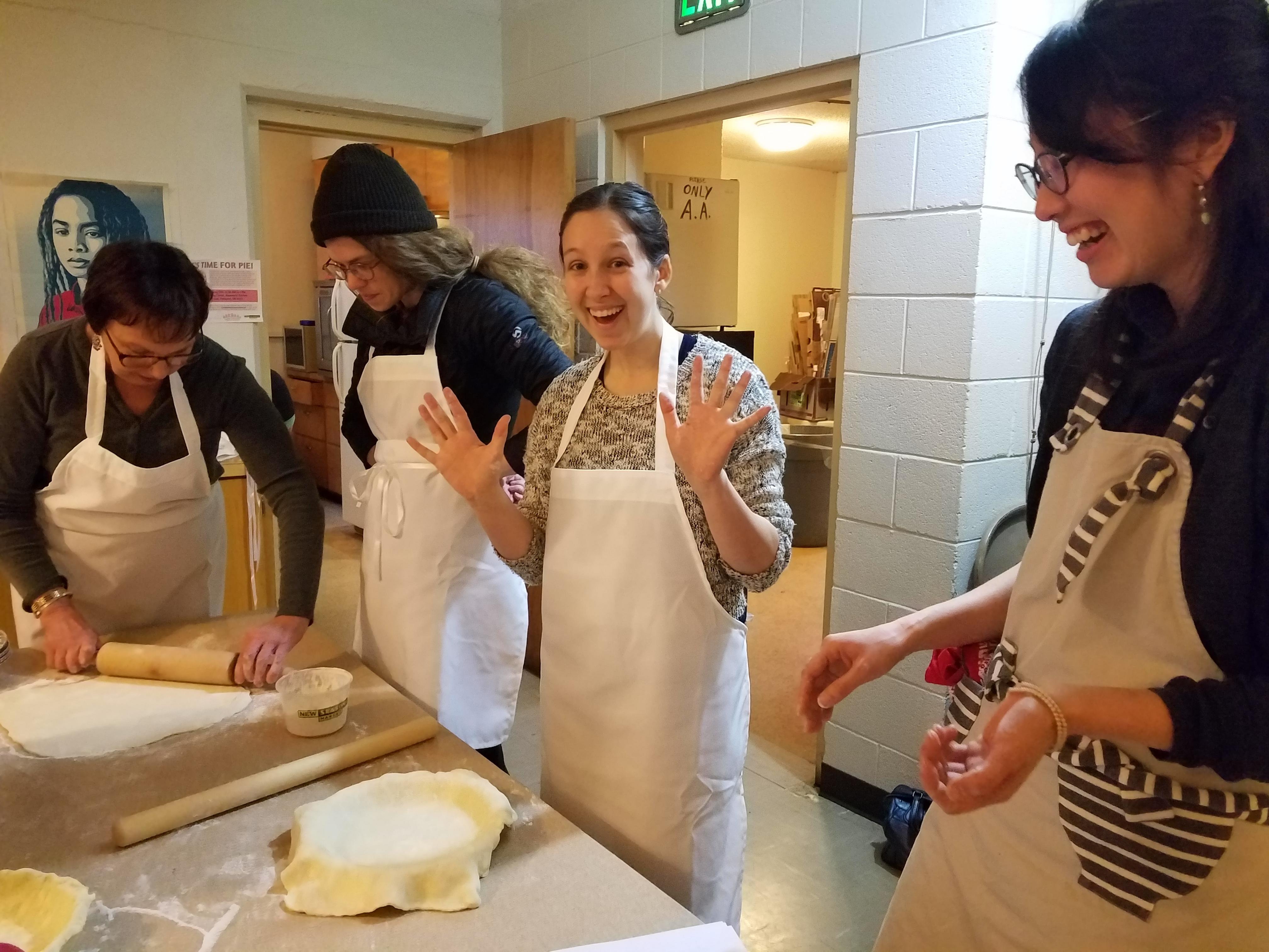 People having fun preparing food.