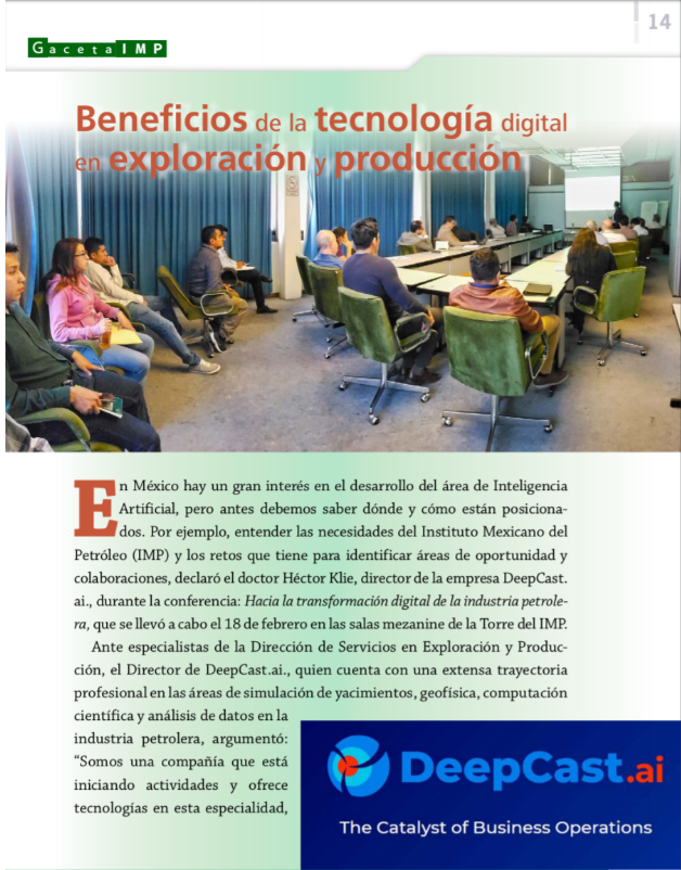 DeepCast Shares Its Digital Transformation Perspective With the Mexican Petroleum Institute