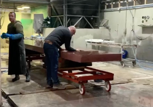 Bespoke 7 metre long kitchen island receives its finishing touches