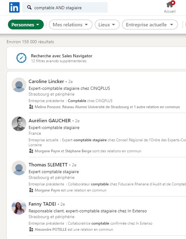 Exemple opérateur booléen sur LinkedIn