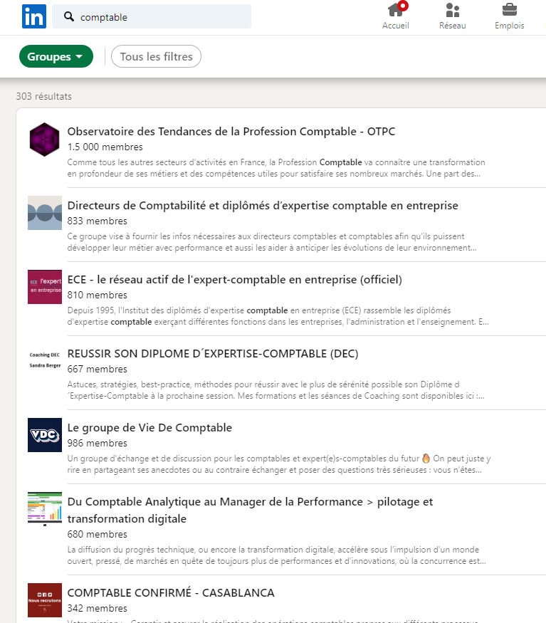 recherche LinkedIn par groupe
