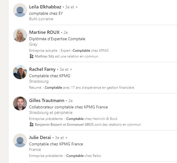 Exemple sur LinkedIn d'un opérateur booléen OR