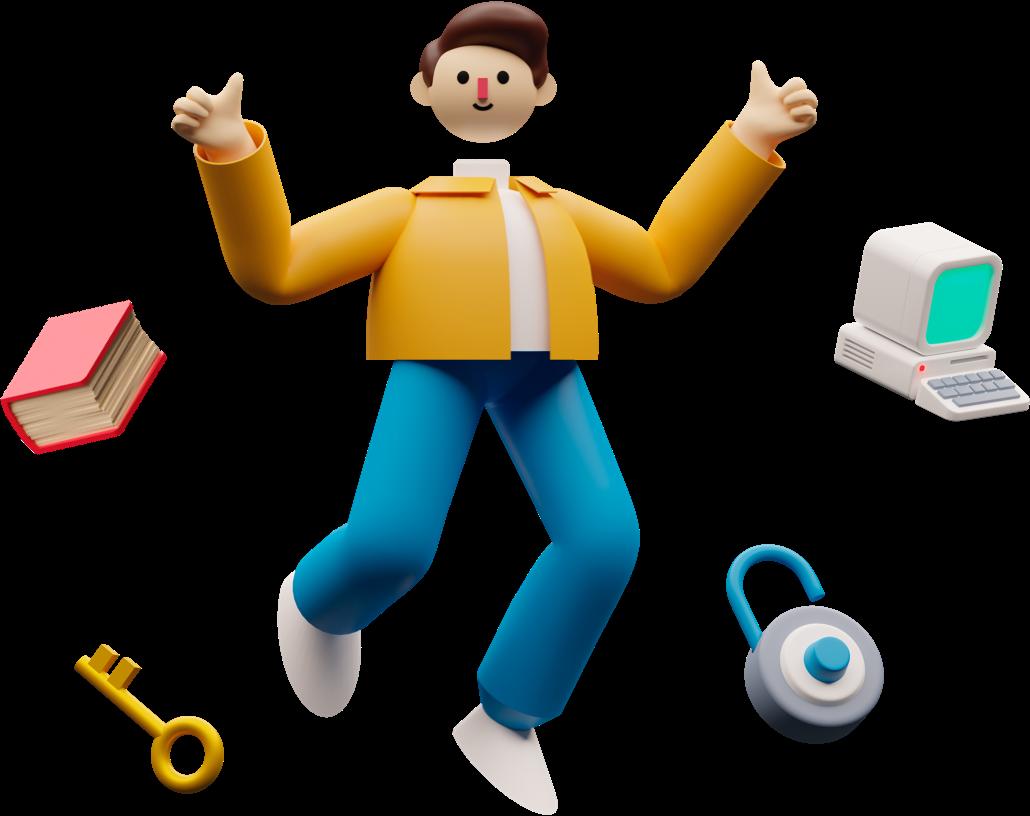 Ilustração 3D de menino flutuando rodeado de outras ilustrações de computador, cadeado, chave e livro.