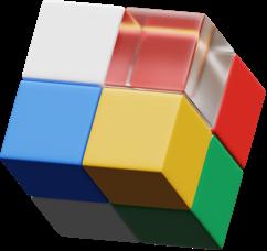 Ilustração 3D de um cubo mágico