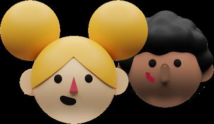 Ilustração 3D de uma menina loira e um menino negro