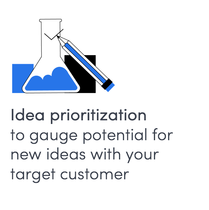 custom research to gauge interest and prioritize ideas